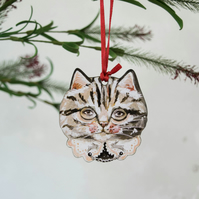 Grey tabby cat wooden hanging decoration