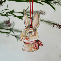 Rabbit wooden hanging decoration