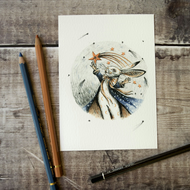White rabbit magical art print. Archival quality. A6, 6x4