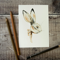 Bertie the bunny rabbit hare. Rabbit art print. Archival quality. A6, 4x6