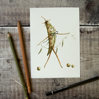 Gary the pea pod man illustration. Archival art print. Drawing sketch. A6, 4x6