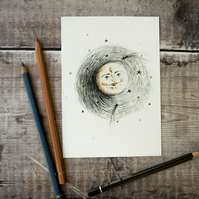 Full moon in a starry night illustration art print. Archival. A6, 4x6