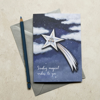 Shooting star greeting note card. A6. David the starman