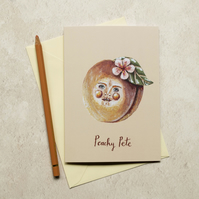 Peachy Pete greeting note card, A6