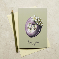 Percy plum greeting card, A6. Card for any occasion