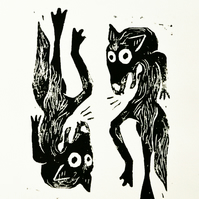 Two Black Foxes Lino Print