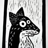 Stunned Fox Lino Print
