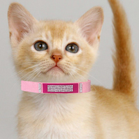 Cat Collar - Pink Magenta Suede and Diamante - Ultra Comfortable