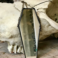 coffin mirror with recycled glass, gothic decor, gifts for goths, halloween desc