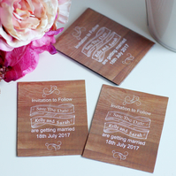 24 Save the date wedding cards, magnetic save the date cards, wood effect invite