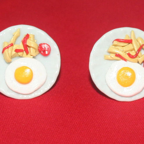 *EGG & CHIPS CUFFLINKS*GIFT BOXED*