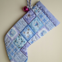 SALE - Frosty Blue, Lilac and Silver Patchwork Christmas Stockings