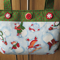SALE - Snowmen Christmas Handbag - Let It Snow