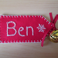 Personalised Christmas Stocking or Sack Name Tag - up to 5 letters