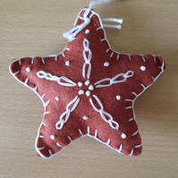 Felt 'Gingerbread' Star Tree Decoration