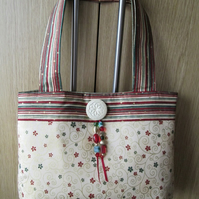 SALE - Red, Green, Cream, Floral Scroll Handbag