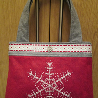 SALE - Christmas Handbag - Wool Felt Snowflake