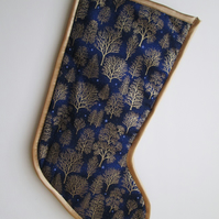 SALE - Gold Trees on Blue Christmas Stocking
