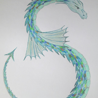 Sea Dragon Mounted Pencil Drawing with Accompanying Poem