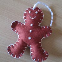 Felt 'Gingerbread Man' Tree Decorations