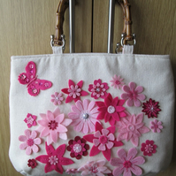 SALE - Pink Petals Handbag with Faux Bamboo Handles