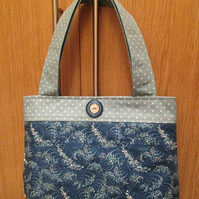 Blue Hand Beaded 'Wave' Handbag