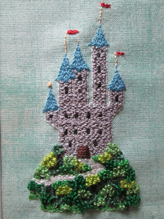 Tiny Castle Embroidered Picture