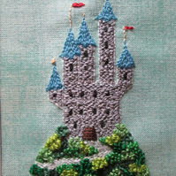 Tiny Castle Hand Embroidered Picture, Textile Art