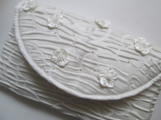 Ivory Brocade Clutch Bag with Satin Flowers and Pearls