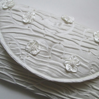 SALE - Ivory Brocade Clutch Bag with Satin Flowers and Pearls