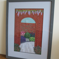Walled Garden Hand Embroidered Picture, Textile Art