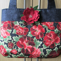 Black and Red Paeony Handbag