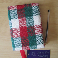 A6 'Harris Tweed' Reusable Notebook Cover - Christmas Check