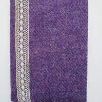 A6 'Harris Tweed' Reusable Notebook Cover - Lavender & Lace