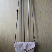 SALE - Beige Chenille Small Cross Body Bag with Leather Strap