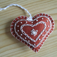Felt 'Gingerbread' Heart Tree Decoration