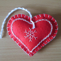 Scandi Red Felt Heart Tree Decoration