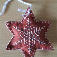 Felt 'Gingerbread' Snowflake Tree Decorations