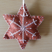 Felt 'Gingerbread' Snowflake Tree Decoration