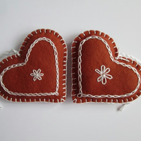 Felt 'Gingerbread' Heart Tree Decorations