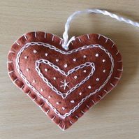 Felt 'Gingerbread' Heart Decoration