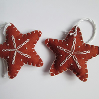 Felt 'Gingerbread' Star Tree Decorations