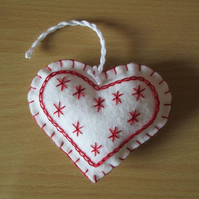 Hand Embroidered Scandi Felt Heart