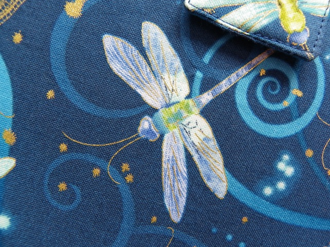 A5 Blue Dragonfly Reusable Notebook Cover