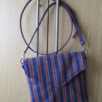 Rainbow Striped 'Harris Tweed' Cross Body Bag with Leather Strap