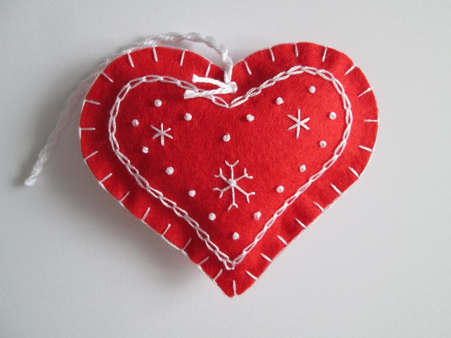 Scandi Style Red Felt Heart