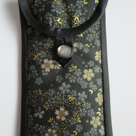Black Floral Glasses Case