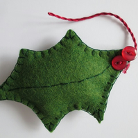 Wool Felt Holly Leaf Tree Decoration