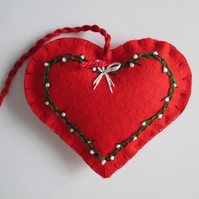 Hand Embroidered Red Felt Heart Tree Decoration