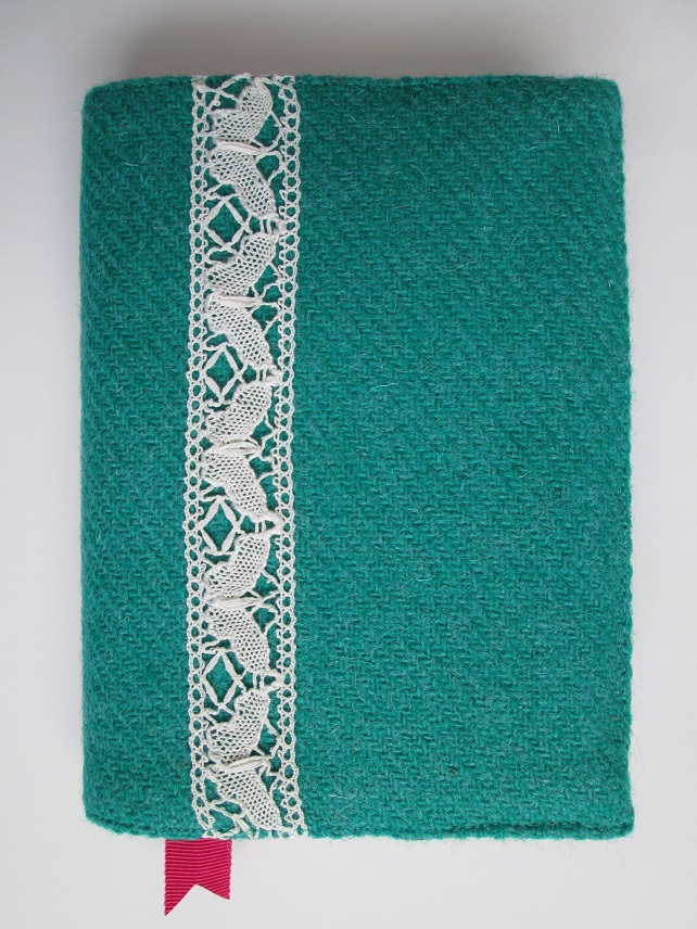 A6 'Harris Tweed' Reusable Notebook Cover - Turquoise with Butterfly Lace